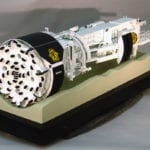 Full view of the front of the 7-meter diameter Robbins Tunnel Boring Machine engineering scale model