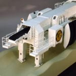 Detail view of the rear of the 7-meter diameter Robbins Tunnel Boring Machine engineering scale model