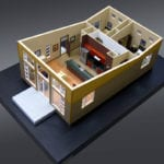 Full view from above with the roof removed of an architectural scale model built as a sales tool for the developer