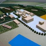 View of the research buildings area of our architectural site model of Lakeview Farms