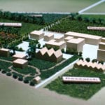 Detail view of the research buildings area of our architectural site model of Lakeview Farms