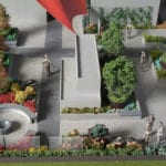 Detail view of a resident's garden area from the architectural scale model of the Mosler Lofts Condominium building in Seattle, created for Mithune Architecture