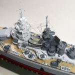 A detail view amidship, showing the superstructure of the engineering scale model of the French battleship Richelieu
