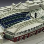 View from above of the architectural scale model of CenturyLink Field, home of the Seattle Seahawks football team, showing both interior and exterior features and its surroundings