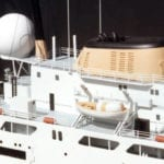 A detail view of the decks and superstructure of the engineering scale model of the RV NOAA Oceanographer