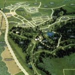 The view from above of a large architectural site model of the Snoqualmie Ridge development for the Weyerhaeuser Real Estate Company