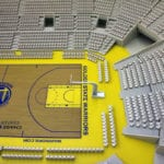 Detail view of the court and surrounding seating area, part of the architectural scale model of Chase Center basketball arena, home of the Golden State Warriors