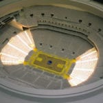 Interior view of the architectural scale model of Chase Center basketball arena, home of the Golden State Warriors, showing seating section lighting features
