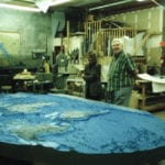 The world topographic scale model for the George H. W. Bush Library and Museum in the studio