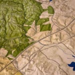 Detail of features of Prince William County, Virginia topographic scale model