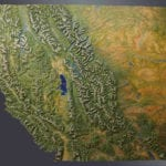 Full view of California Trails topographic scale model