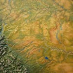 Detail view of California Trails topographic scale model