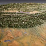 California Trails topographic scale model showing terrain features