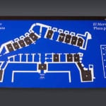 Full view of the interactive tactile graphic panel for the Castillo del Morro museum scale model in San Juan, Puerto Rico