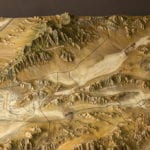 Details of terrain, roads, and trails on the Ash Meadows National Wildlife Refuge topographic scale model