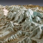 Detail view of the Denali National Park topographic scale model