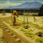 Detail view of food storage from the museum scale model of the Tusayan Pueblo