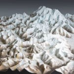View of the Denali National Park topographic scale model