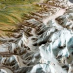 Detail view of the Denali National Park topographic scale model showing glacier and mountains