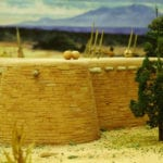 Detail of the wall of the museum scale model of the Tusayan Pueblo