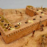 Top view of the museum scale model of the Tusayan Pueblo