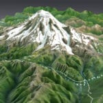 Mount Rainier topographic scale model showing trails and lighting details