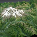 Topographic scale model of the Mount Rainier trails showing lighting details
