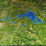 Yellowstone National Park topographic scale model showing lakes and lighting detail