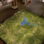 Yellowstone National Park topographic scale model in plan view