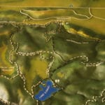 Close-up of the lake and trails of the tactile topographic scale model of Trione-Annadel State Park
