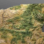 Northeast corner detail of the Oregon State topographic scale model