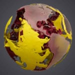 View of a museum scale model of Earth's manatle created for the American Museum of Natural History in New York City showing the equatorial regions of North and South America