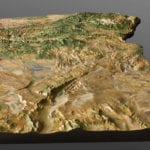 Three quarter view of Oregon State topographic scale model from the south