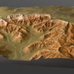 Three quarter view of Bryce Canyon National Park outdoor topographic scale model