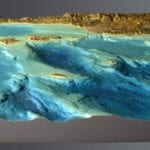 Three-quarter view of Channel Islands National Park topographic scale model