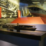 View of the bronze cast tactile museum scale model of the Japanese carrier Akagi at Pearl Harbor
