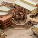 Detail view of the museum scale model Desert Living Center and Conservation Garden campus in Las Vegas Springs, Nevada, developed for the Deneen Powell Atelier