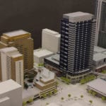 Detail view of an architectural scale model of the central Bellevue, Washington area
