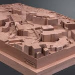 View of the basswood architectural massing model of the University of Virginia