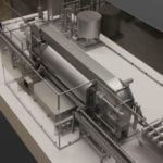 View of the engineering scale model of a Avure HPP high-pressure food processing machine