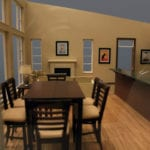 Living and dining area interior detail view of an architectural scale model built as a sales tool for the developer