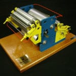 View of an engineering scale model of a coil coating machine