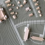 Detail view of the architectural massing model of the University of Dubuque