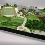 Full view from the southeast of the architectural scale model of Eastside Catholic High School created for Integrus Architecture