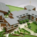 Detail view of the buildings and landscaping, part of the architectural scale model of Eastside Catholic High School created for Integrus Architecture