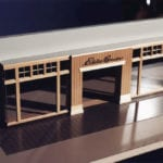 View of the architectural scale model of the facade for an Eddie Bauer store