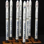 Full view of multiple engineering scale models of the Boeing Sea Launch Zenit-3SL rocket