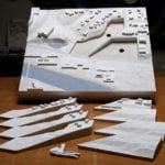 Full view of the architectural site model created for the University of Iowa showing model portions that feature interchangeable parts depicting different design alternatives