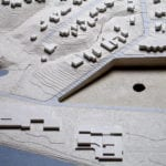 Detail view of the architectural site model created for the University of Iowa showing model portions that feature interchangeable parts depicting different design alternatives