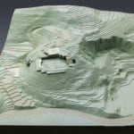 Full view of a topographic architectural scale model for the site for the U. S. Embassy in Istanbul, Turkey.